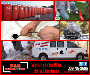 B & B Drain Tech is working to be #1 in the #2 business. Call us at 309-787-9686. Or email us at service@bbdraintech.com.