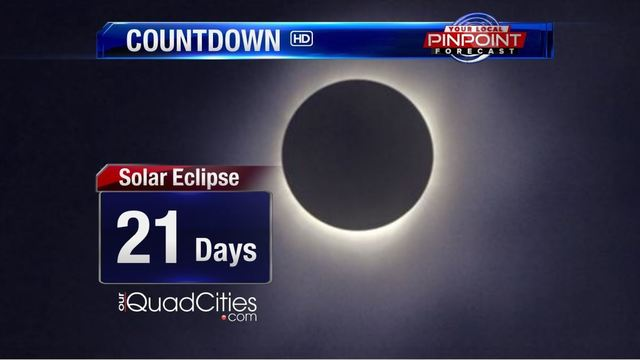 Near total solar eclipse in Quad Cities now 3 weeks away