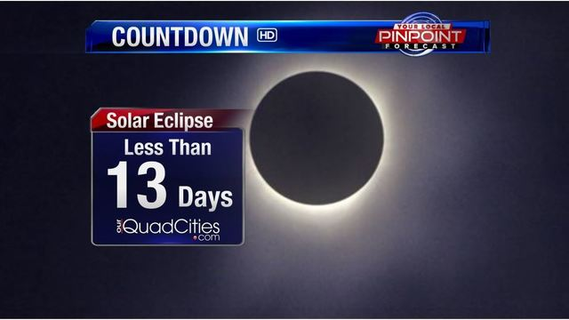 Near total solar eclipse in Quad Cities now less than 2 weeks away