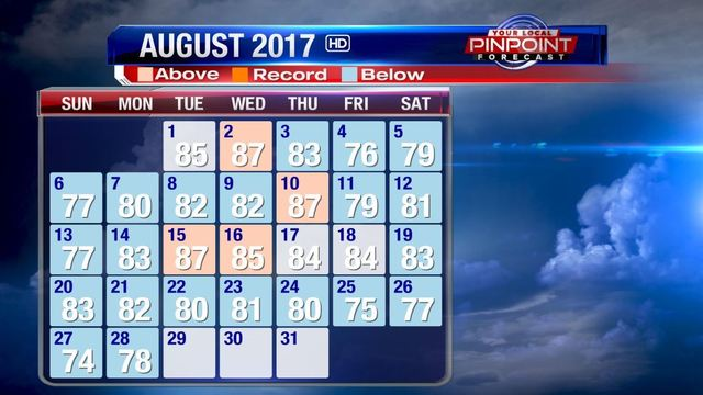 More cooler than normal weather to end August