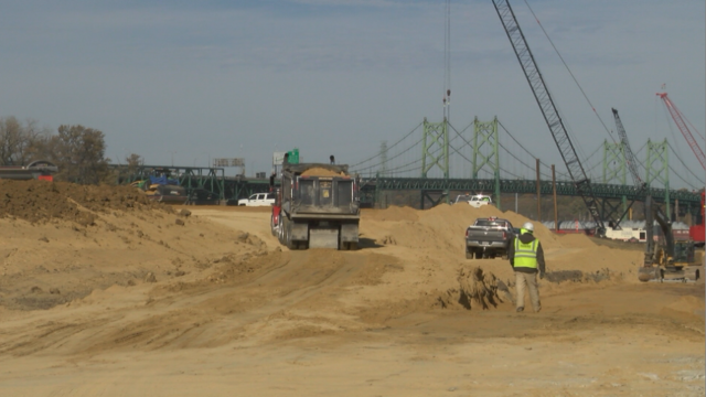 Constructing security measures at the I-74 Bridge construction site