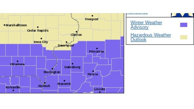 Winter Weather Advisory in effect Sunday