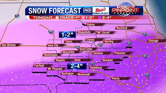 Tuesday night snow now falling in Quad Cities