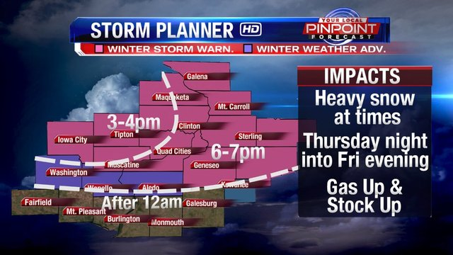 Winter Storm Warning is in effect for Wednesday into Wednesday night
