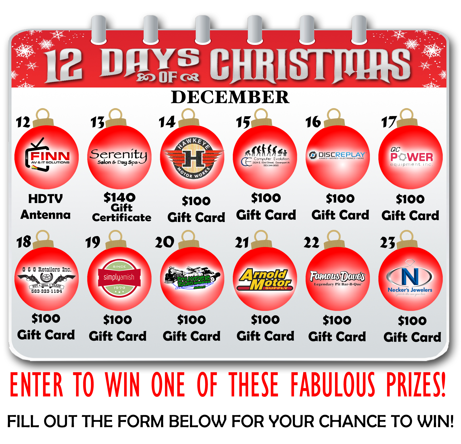 welcome to the 12 days of christmas on ourquadcitiescom your chance to win one of twelve great prizes from our participating sponsors - When Are The Twelve Days Of Christmas