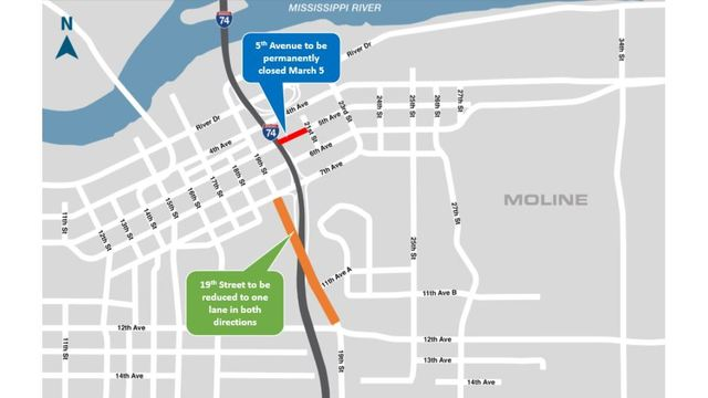 Permanent road closures for I-74 bridge reconstruction